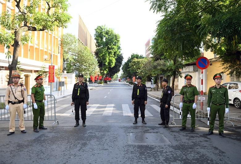 Các lực lượng đảm bảo an ninh, trật tự phục vụ Đại hội đại biểu Đảng bộ CATW lần thứ VII, nhiệm kỳ 2020 - 2025.